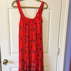 Old Navy Women Red Floral Strapless Dress Size M